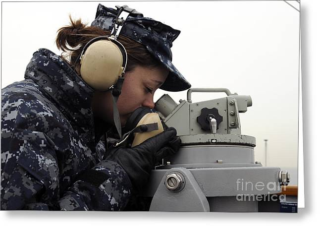 Trial Greeting Cards - Seaman Uses A Sound-powered Phone Greeting Card by Stocktrek Images
