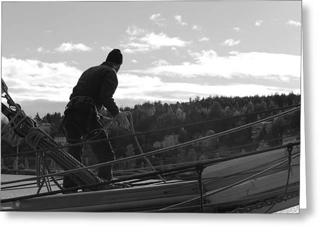 Historic Ship Greeting Cards - Seaman working on a brig - monochrome Greeting Card by Intensivelight