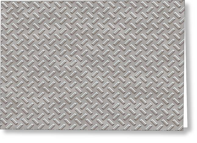 Metallic Sheets Digital Greeting Cards - Seamless metal texture rhombus shapes 1 Greeting Card by REDlightIMAGE