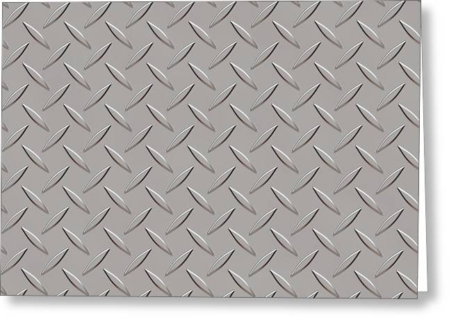 Metallic Sheets Digital Greeting Cards - Seamless metal texture rhombus shapes 3 Greeting Card by REDlightIMAGE