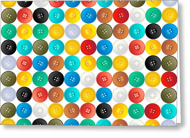 Seamless Pattern Of Buttons Greeting Card by Richard Laschon