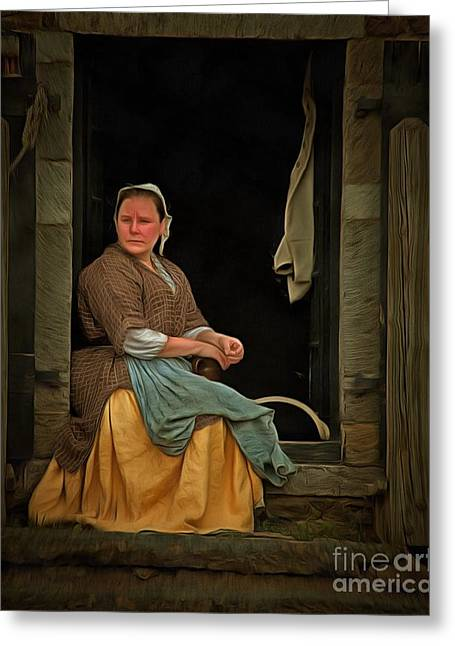 Toiling Greeting Cards - Seamstress Greeting Card by Edward Fielding