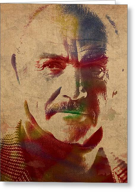 Connery Greeting Cards - Sean Connery Actor Watercolor Portrait on Worn Distressed Canvas Greeting Card by Design Turnpike