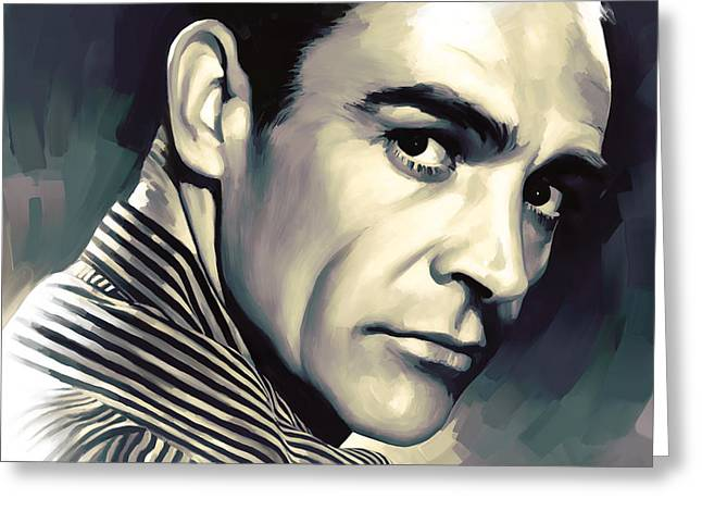 Celebrity Prints Greeting Cards - Sean Connery Artwork Greeting Card by Sheraz A