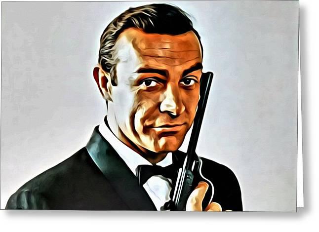 Tuxedo Greeting Cards - Sean Connery as James Bond Greeting Card by Florian Rodarte