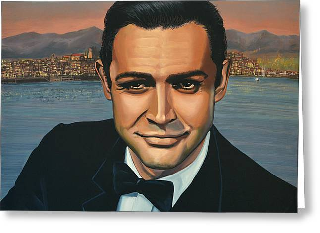 Indiana Paintings Greeting Cards - Sean Connery as James Bond Greeting Card by Paul Meijering