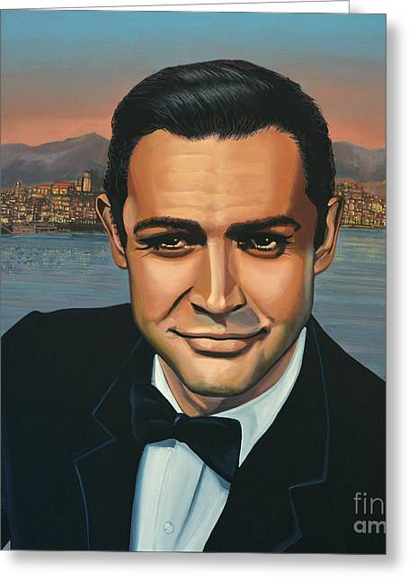 Sean Greeting Cards - Sean Connery as James Bond Greeting Card by Paul Meijering