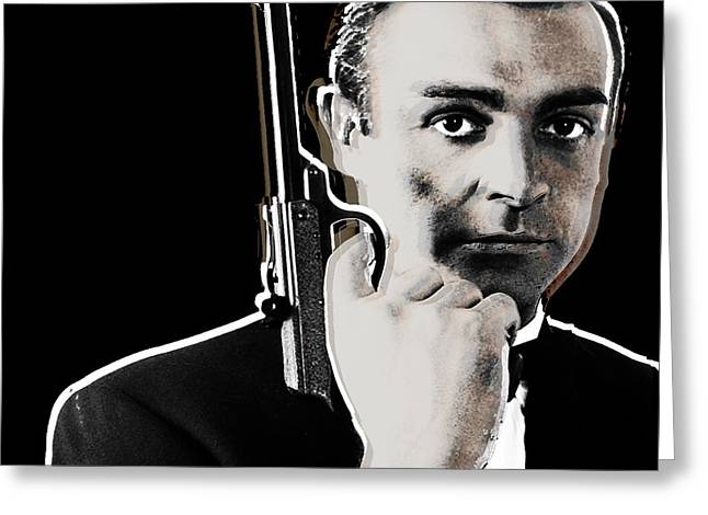 British Crime Greeting Cards - Sean Connery James Bond Square Greeting Card by Tony Rubino