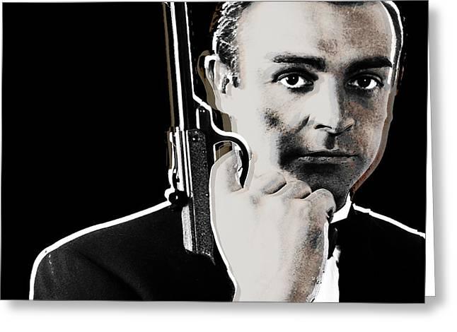 Sean Connery James Bond Square Greeting Card by Tony Rubino