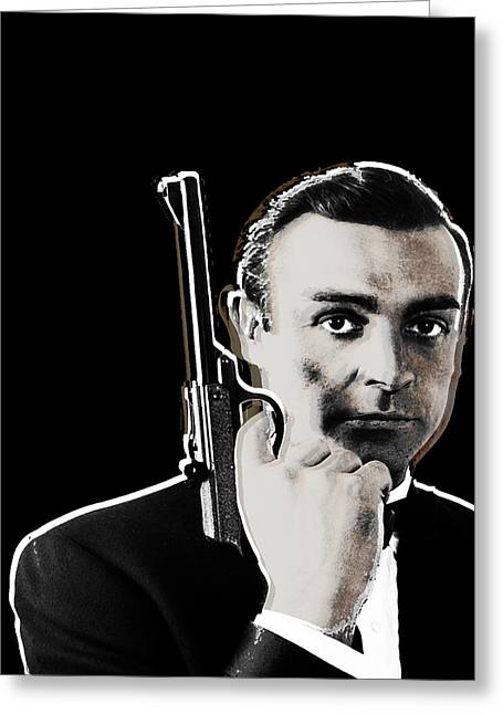 British Celebrities Mixed Media Greeting Cards - Sean Connery James Bond Vertical Greeting Card by Tony Rubino