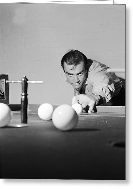 Suave Greeting Cards - Sean Connery Playing Billiards Greeting Card by Nomad Art And  Design