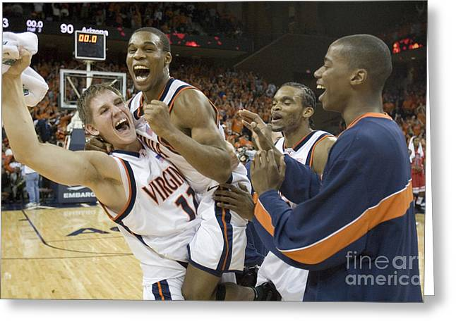 Sean Singletary and Lars Mikalauskas Celebrate UVA Win Over Arizona Greeting Card by Jason O Watson