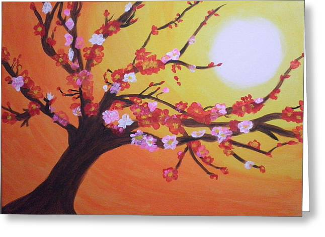Bloosom Paintings Greeting Cards - Seans Apple Bloosom Tree Greeting Card by Tami Farina