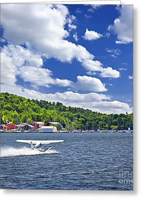 Beautiful Landing Greeting Cards - Seaplane on water Greeting Card by Elena Elisseeva