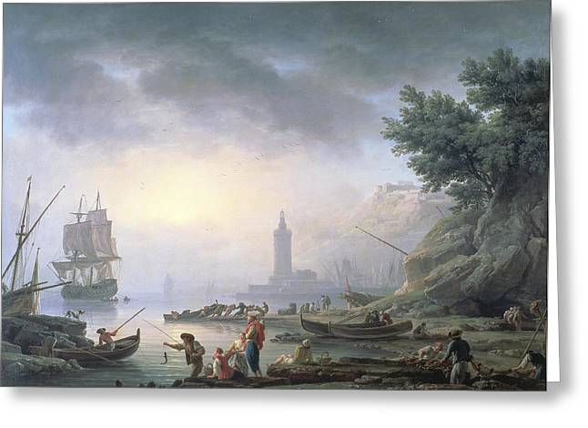 Sailing Boat Greeting Cards - Seaport At Dawn, 1751 Greeting Card by Claude Joseph Vernet