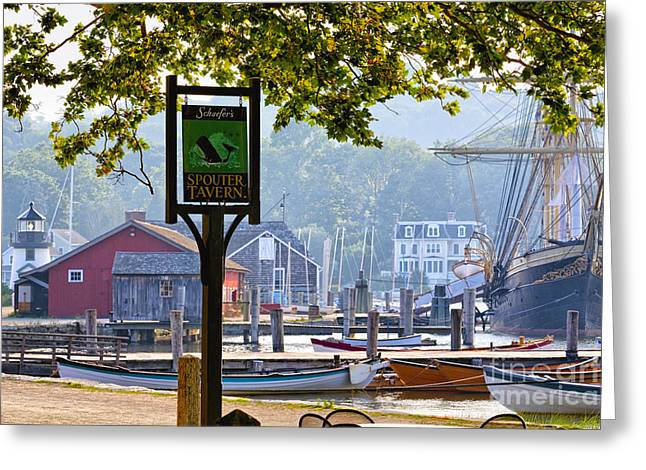 New England Village Greeting Cards - Seaport on the Mystic River Greeting Card by George Oze