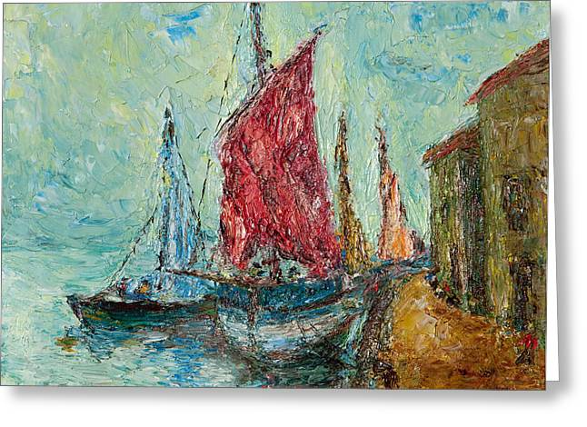 Pallet Knife Photographs Greeting Cards - Seaport Painting Greeting Card by Russell Shively