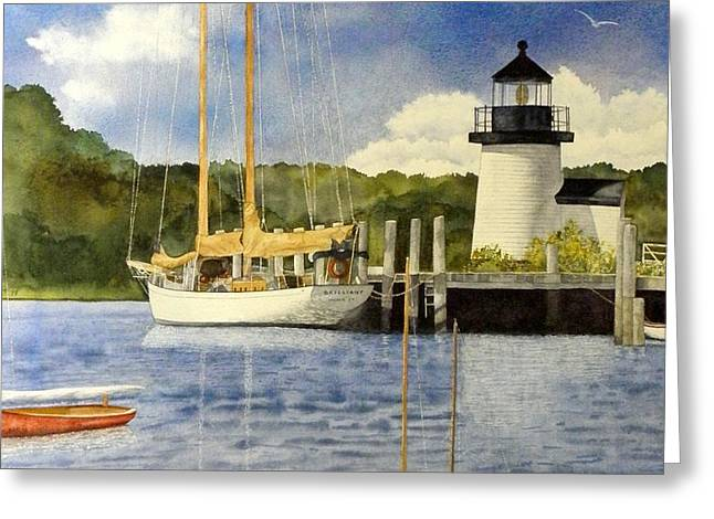 Mystic Setting Greeting Cards - Seaport Setting Greeting Card by Lizbeth McGee