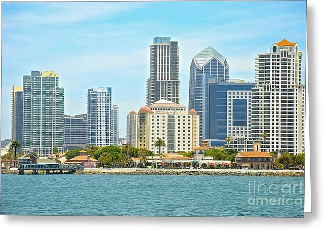 Customizable Greeting Cards - Seaport Village and Downtown San Diego Buildings Greeting Card by Claudia  Ellis