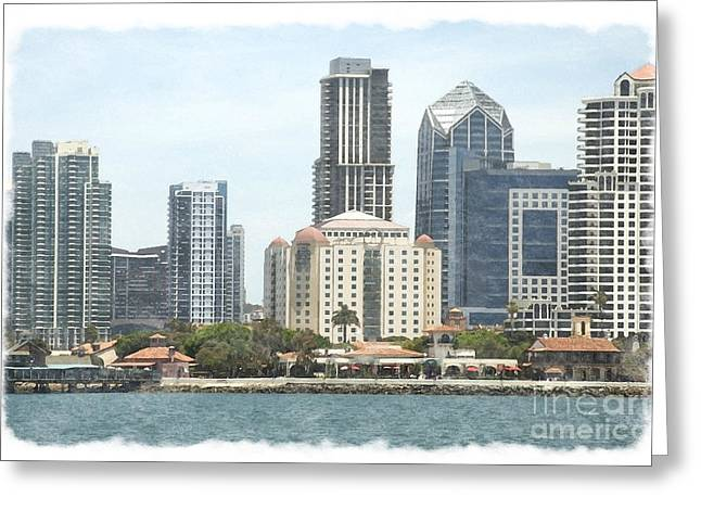 Customizable Greeting Cards - Seaport Village and Downtown San Diego Watercolor Greeting Card by Claudia  Ellis