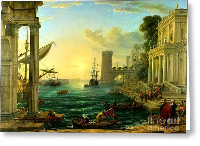 Seaport Greeting Cards - Seaport With the Embarcation of St. Ursula by Claude Lorrain Greeting Card by Pg Reproductions