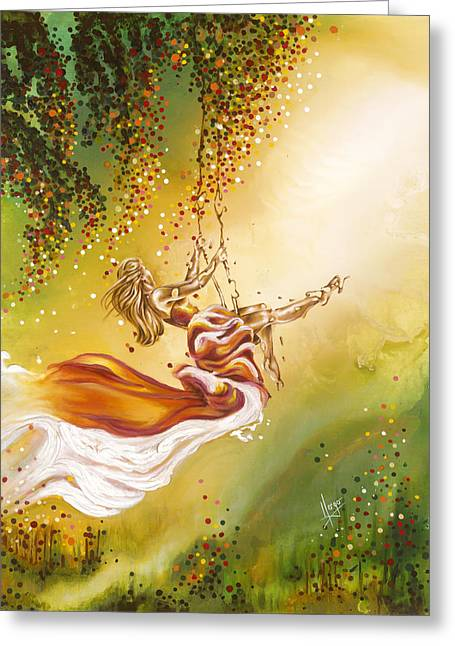 Freedom Park Paintings Greeting Cards - Search for the sun Greeting Card by Karina Llergo Salto