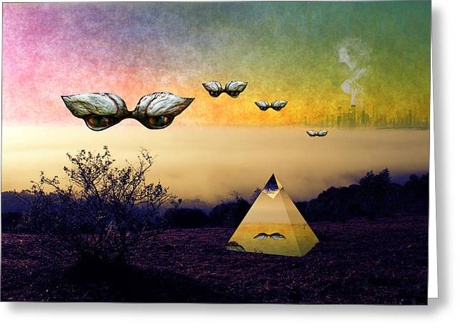 Pyramids Greeting Cards - Search the boundaries to find the peace you seek Greeting Card by Donuts Art