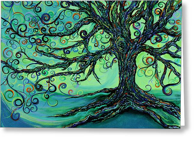 Tree Roots Paintings Greeting Cards - Searching Branches Greeting Card by RK Hammock