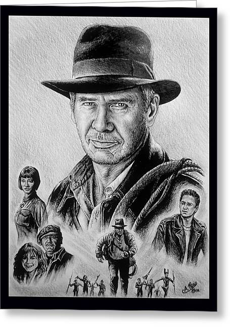 Movie Star Drawings Greeting Cards - Searching for the Crystal Skull Greeting Card by Andrew Read
