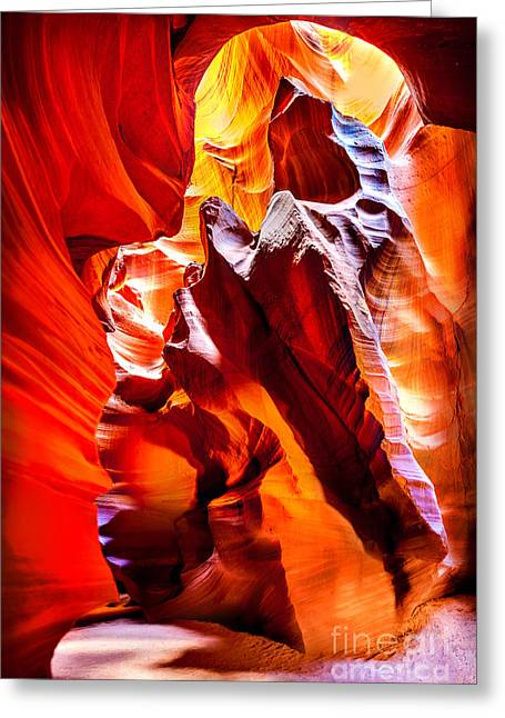 Slot Canyon Greeting Cards - Searching For The Sun Greeting Card by Az Jackson