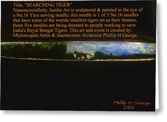 Nanomicroinfinity Art Greeting Cards - Searching Tiger Greeting Card by Phillip H George