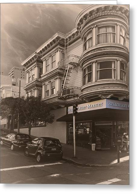 Grocery Store Greeting Cards - Searchlight Market - San Francisco Greeting Card by Daniel Hagerman