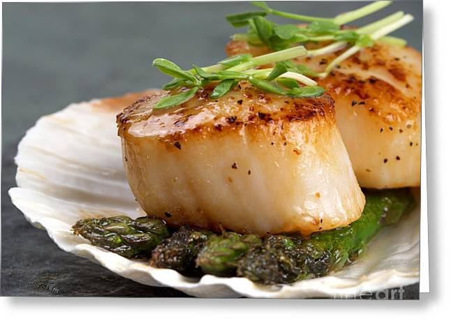 Culinary Photographs Greeting Cards - Seared scallops Greeting Card by Jane Rix