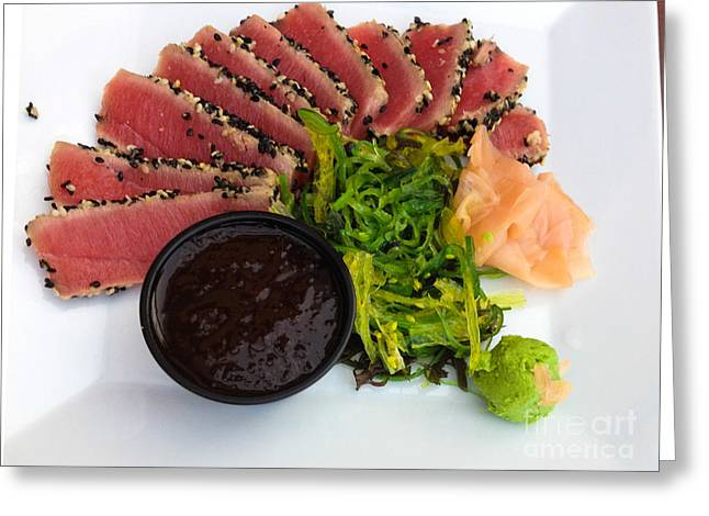 Sashimi Greeting Cards - Seared Tuna with Ginger Greeting Card by Thomas Marchessault