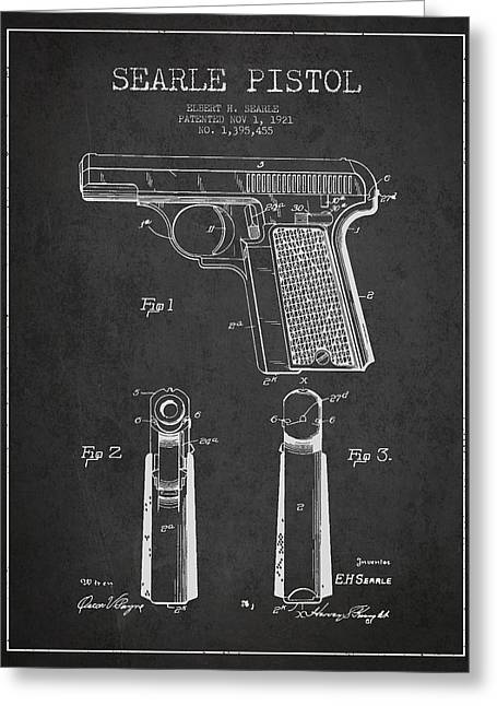 Revolver Greeting Cards - Searle Pistol Patent Drawing from 1921 - Dark Greeting Card by Aged Pixel