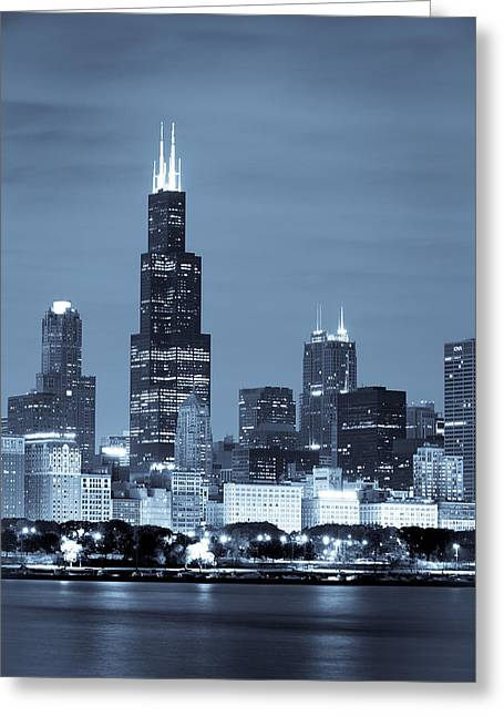 Man Photographs Greeting Cards - Sears Tower in Blue Greeting Card by Sebastian Musial