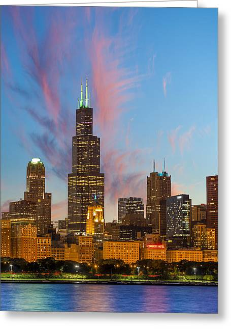 Modern Photographs Greeting Cards - Sears Tower Sunset Greeting Card by Sebastian Musial
