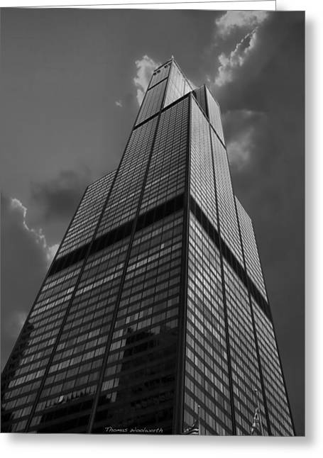 Central Il Greeting Cards - Sears Willis Tower Black and White 01 Greeting Card by Thomas Woolworth