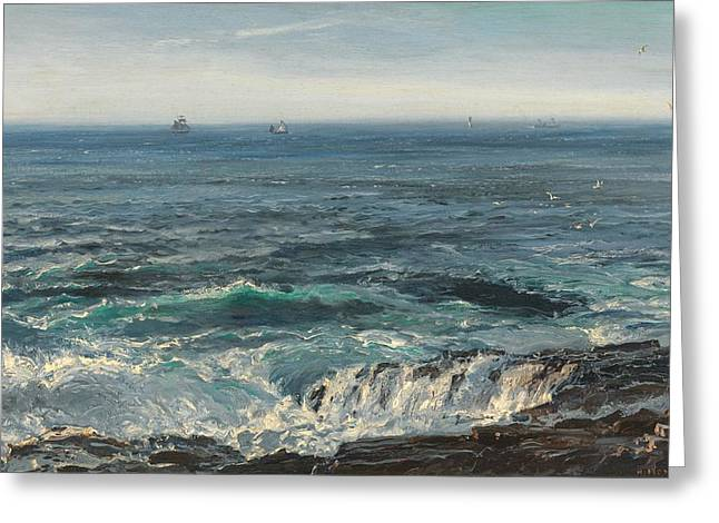 Distance Greeting Cards - Seascape 1877 Greeting Card by Henry Moore