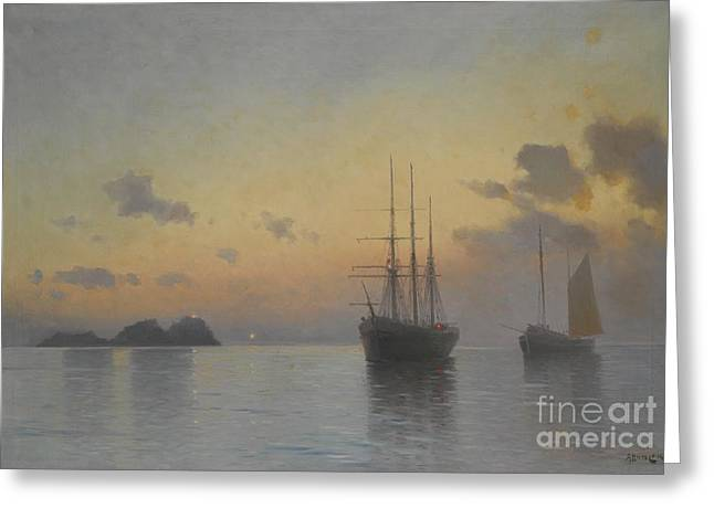 Orthodox Paintings Greeting Cards - Seascape Greeting Card by Celestial Images
