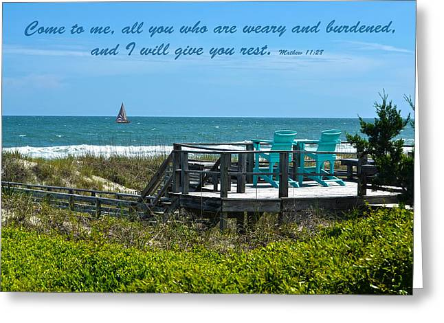 Seascape And Scripture Greeting Card by Sandi OReilly