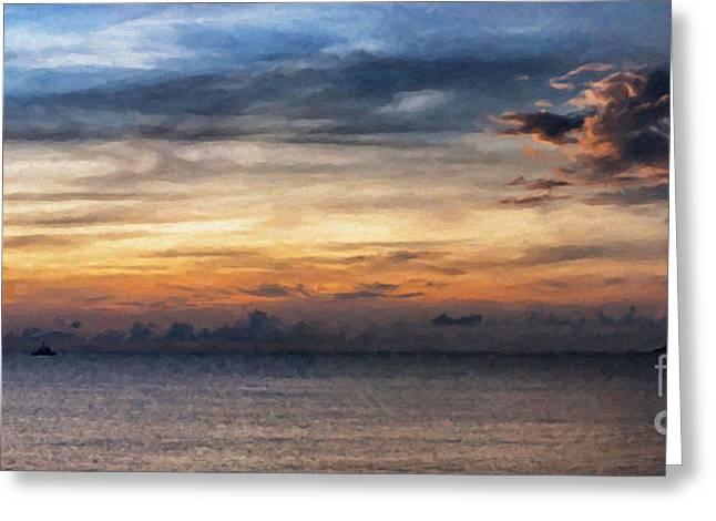 Ocean Panorama Digital Art Greeting Cards - seascape Asia panorama BIG painting Greeting Card by Antony McAulay