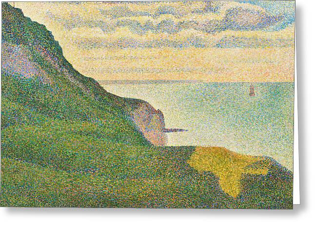 Looking Out Side Greeting Cards - Seascape at Port en Bessin Normandy Greeting Card by Georges Seurat