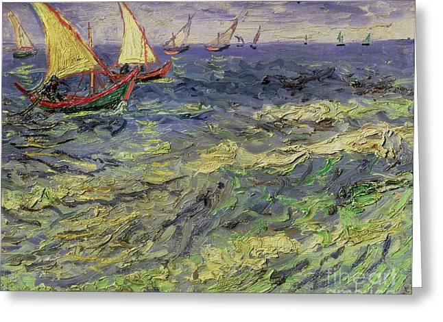 Wooden Ship Paintings Greeting Cards - Seascape at Saintes-Maries 1888 Greeting Card by Vincent van Gogh