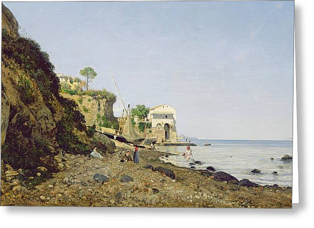 Seascape At Sorrento, 1859 Oil On Canvas Greeting Card by Henri-Joseph Harpignies