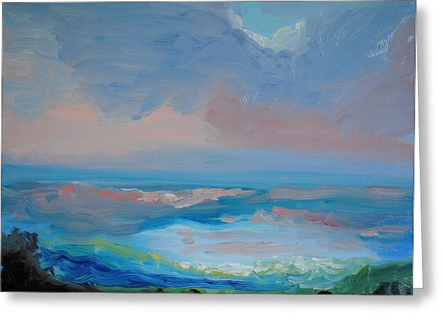 League Paintings Greeting Cards - Seascape Calm Greeting Card by Patricia Kimsey Bollinger