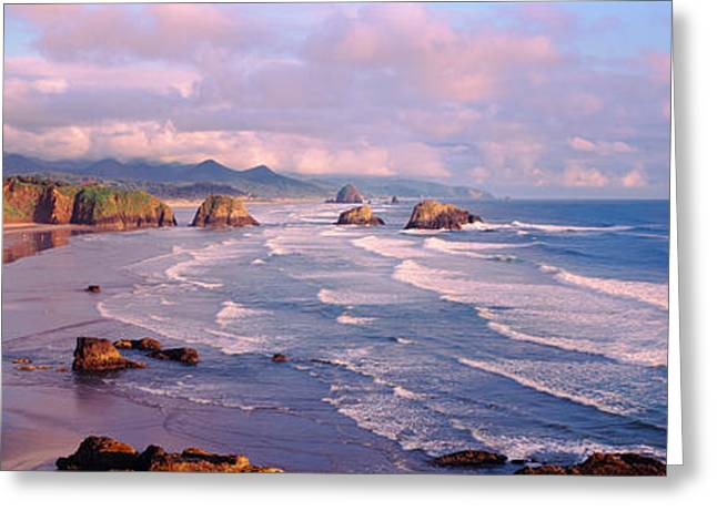 Beach Vista Greeting Cards - Seascape Cannon Beach Or Usa Greeting Card by Panoramic Images
