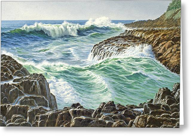 Oregon Coast Greeting Cards - Seascape-Devils Churn-Oregon Greeting Card by Paul Krapf