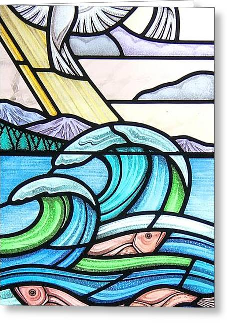 Sea Shell Glass Greeting Cards - Seascape Greeting Card by Gilroy Stained Glass
