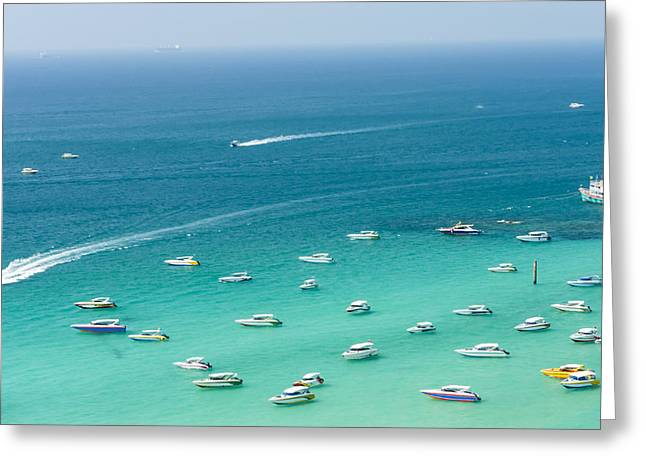 Larned Greeting Cards - Seascape in blue sky day. Greeting Card by Peeraphat Bootcharoen